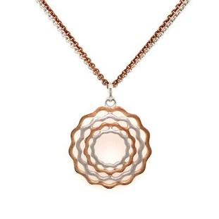 "Nature inspired silver and rose gold plated flower pendant.  For the girl who loves everything organic!  So Sweet! Hangs on a 18"" double silver, and rose gold plated chain. Measures 1 inch long."