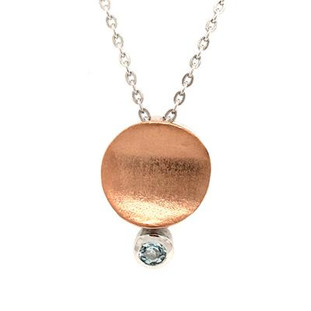 """This everyday sweet drop pendant was created in silver rose gold plated, set with a round blue topaz gemstone at the bottom. Hangs on a 18"""" silver wheat chain.  Measures 1/2 inch long."""