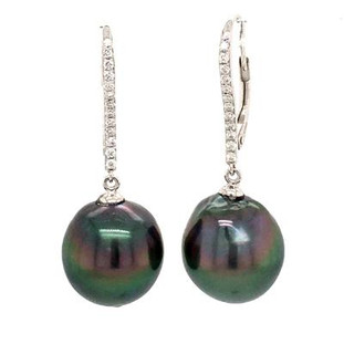 Breathtaking drop earrings in 18 Karat white gold accented with .20ct. t.w. of exceptional diamonds, and 2- 13mm Baroque Black tahitian pearls, hanging on white gold lever backs.  Measures 1 inch long.