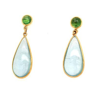 Classic and timeless,these dangle earrings will never go out of style.  Created in 18Karat yellow gold, accented on top with these cool round cabachon tsavorite garnets, and pear shaped aquamarines dangling on the bottom.  Wear them day or night. Hangs on posts, and measures 1 inch long.