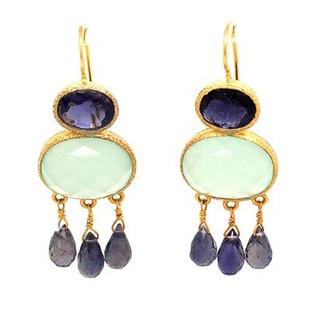 Fun and sassy these dangle earrings shine. Created in silver and yellow gold plated, set with these beautiful deep rich purple iolite and pale blue calcedony gemstones. Hangs on wires and measures 1 3/4 inch long.