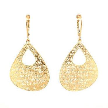 Light as a feather but packs a big punch, these airy mesh earrings are most impressive! Made in 14 karat yellow gold, and beautifully unique. Hanging on lever backs, these gold earrings measure 1-1/2 inch long.