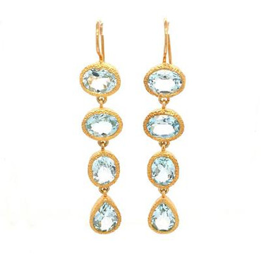 Our stunning dangle earrings will take your breath away! Vermeil (gold plate on sterling silver), with sparkly oval and pear shaped blue topaz gemstones. Measures 2 inches long, hanging on wires.
