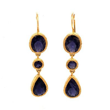 Our stunning dangle earrings will take your breath away! Vermeil (gold plate over sterling silver), with sparkly oval, round and pear shaped iolite gemstones. Measures 1-3/4 inches long, hanging on wires.