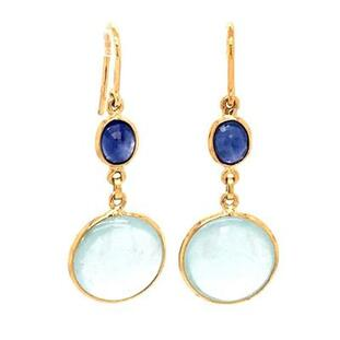 Our incredible drop dangle earrings with these rich dark blue sapphire gemstones, and dangling round aquamarine gemstones.  18 karat yellow gold hanging on wires.  These beautiful earrings measures 1 inch long.