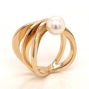 Our stunning open spiral ring, modern but timeless. Created in 14 karat yellow gold, with a 7.5mm fine akoya pearl. This ring says wow! Ring is size 6 1/2.  Created in our studio, by the artist Stuart J.