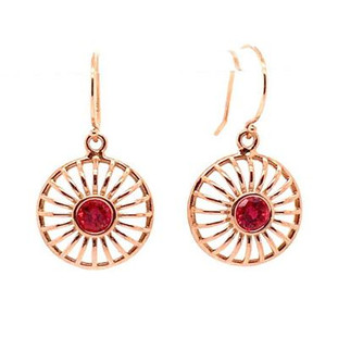 These stunning drop dangle earrings were created in 14 karat rose gold, set with these amazing red ruby lab created gemstones. Elegant, and timeless. Hangs on 14 karat rose gold wires.  Created in our studio, by the artist Stuart J.