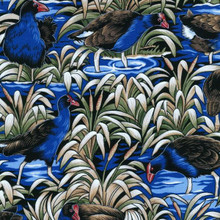 Pukeko Swamp Col. 1 Blue  1/2 Metre Length