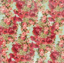 Devotion - Floral Aqua 1/2 Metre Length