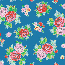 Strawberry Biscuit - Main Blue 1/2 Metre Length
