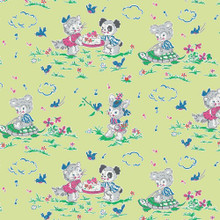 Strawberry Biscuit - Playdate Green 1/2 Metre Length