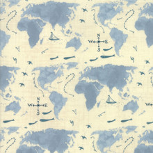 Moda Weather Permitting by Janet Clare Maps world cloudy forcast - per half meter length