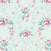 Tilda Old Rose 100209 Lucy Teal Mist - per half meter length