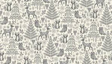 Scandi Christmas Grey animals-    per half metre length