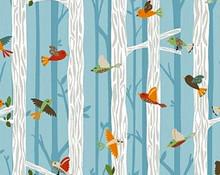 Bear Camp Col 110 Birds in Trees  - Per half meter length