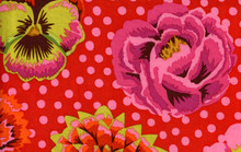 Big Blooms Red  1/2 Metre Length