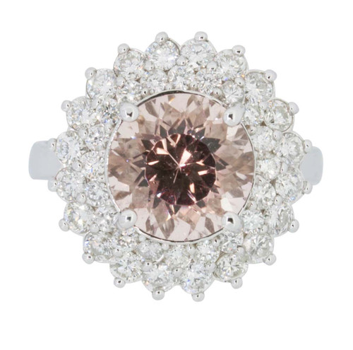 Pre Owned 14ct White Gold Morganite and Diamond Ring