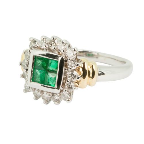 Second Hand Emerald & Diamond 18ct Gold Dress Ring