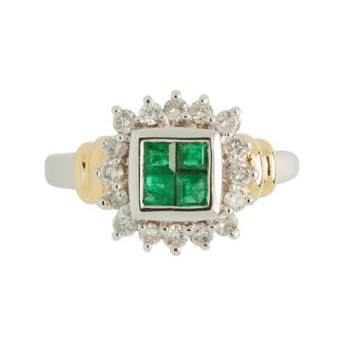 Second Hand Emerald & Diamond 18ct Gold Dress Ring