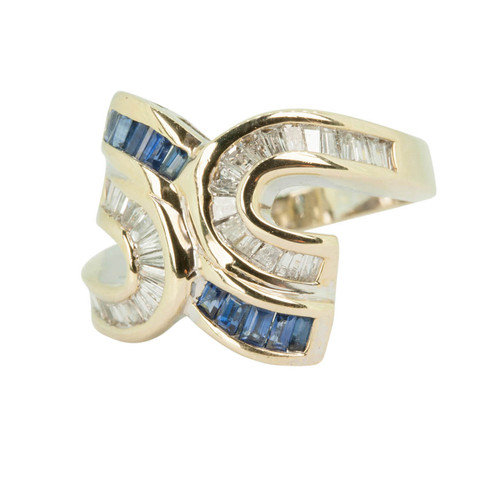Second Hand Sapphire and Diamond 14ct Gold Dress Ring