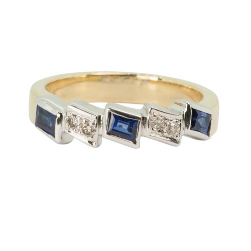 Second Hand Sapphire & Diamond 18ct Gold Eternity Ring