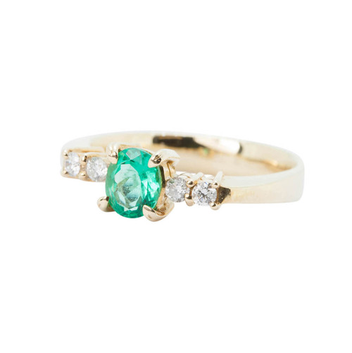 Second Hand 18ct Gold Emerald and Diamond Dress Ring