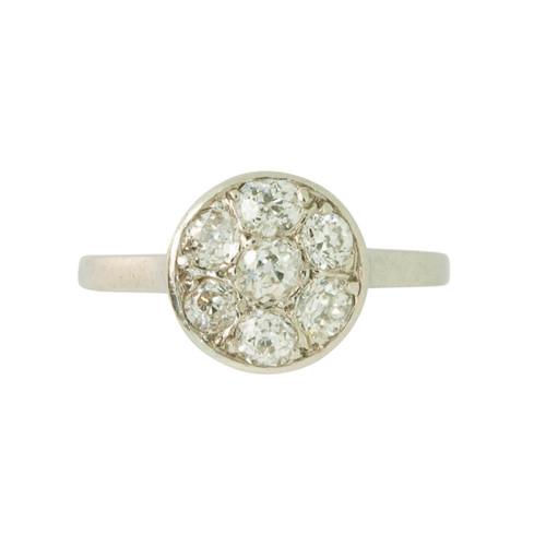 Vintage Edwardian 9ct Gold Diamond Daisy Cluster Ring