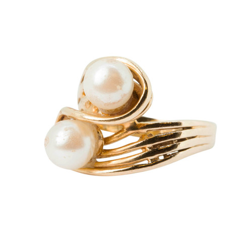 Pre Owned 14ct Gold Pearl Dress Ring