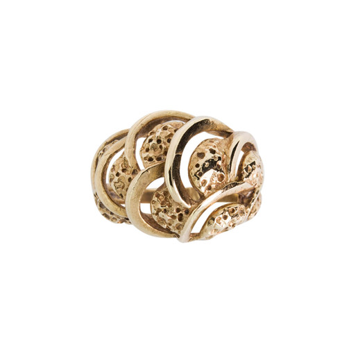 Pre Owned 9ct Gold Wave Patten Dress Ring