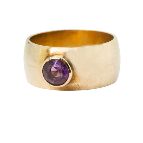 Vintage 9ct Gold Wide Band Amethyst Ring