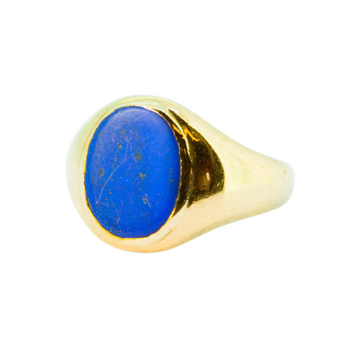 Pre Owned 9ct Gold Lapis Lazuli Mens Signet Ring