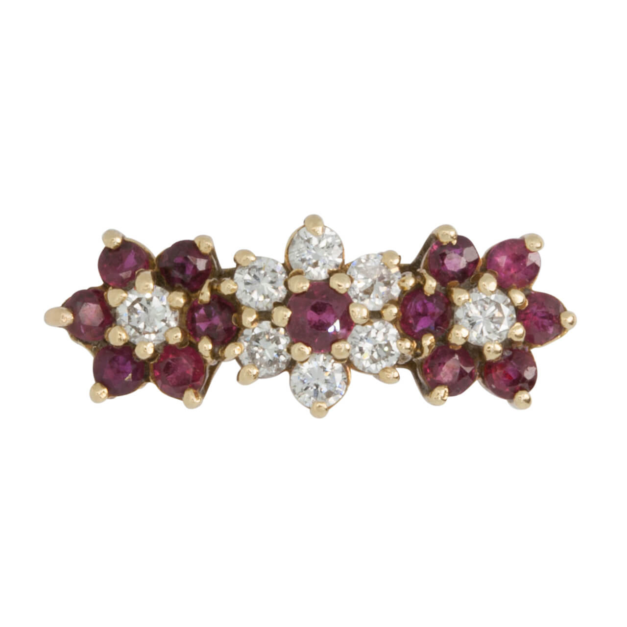 66f21c00ad783 Vintage Ruby and Diamond 18ct Gold Triple Cluster Ring