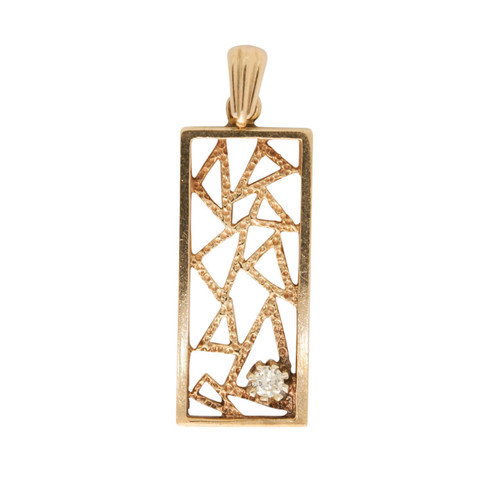Vintage 9ct Gold Abstract Diamond Pendant