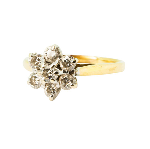 Pre Owned 18ct Gold Diamond Daisy Cluster Ring