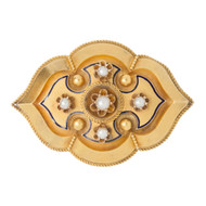 Victorian 9ct Gold & Pearl Memory Brooch