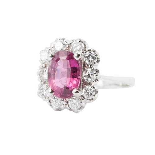 Second Hand 14ct Gold Pink Tourmaline & Diamond Cluster Ring