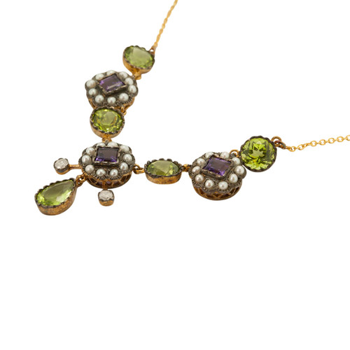 Diamond, Peridot, Amethyst & Pearl Suffragette Necklace