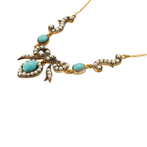 Vintage Style Turquoise & Pearl Necklace