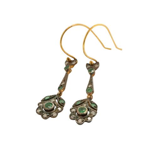 Vintage Style Emerald and Diamond Earrings