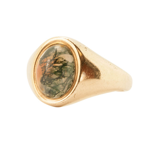 Vintage Moss Agate 9ct Gold Signet Ring
