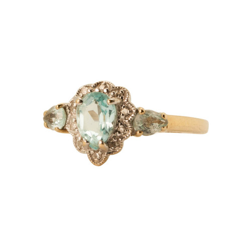 Pre Owned 9ct Gold Aquamarine & Diamond Cluster Ring