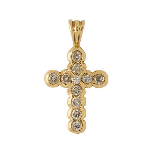 Second Hand 18ct Gold Diamond Cross Pendant