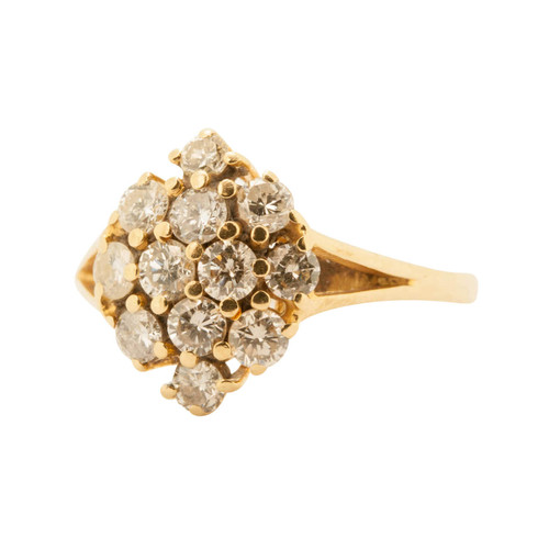 Pre Owned 18ct Gold Diamond Oval Cluster Ring