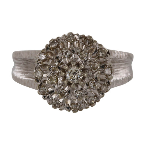 Pre Owned 18ct Gold Triple Row Diamond Cluster Ring