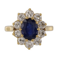 Pre Owned 18ct Sapphire & Diamond Cluster Ring