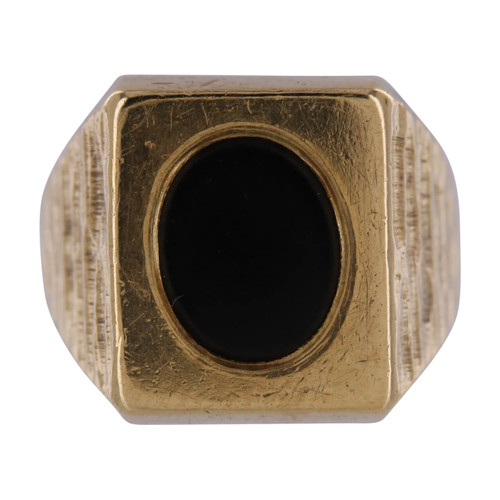 Vintage 9ct Gold Onyx Signet Ring