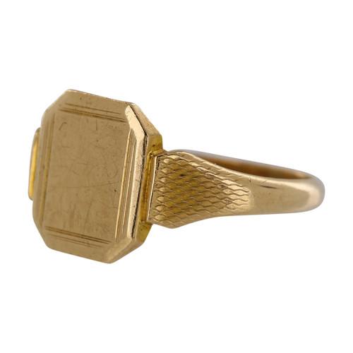 Vintage 9ct Gold Octagonal Faced Signet Ring