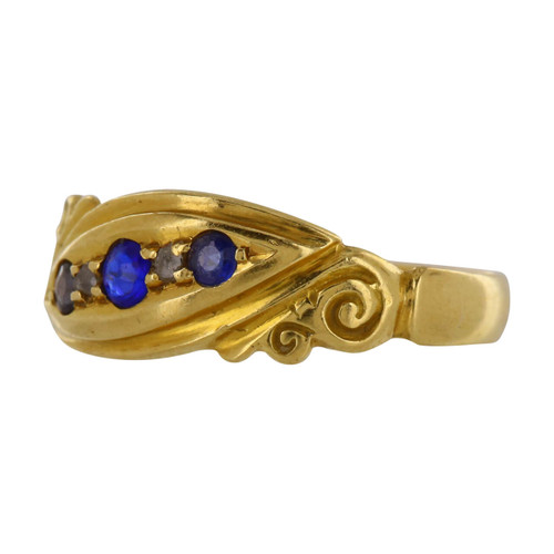 Edwardian 18ct Gold Sapphire and Diamond Gypsy Ring