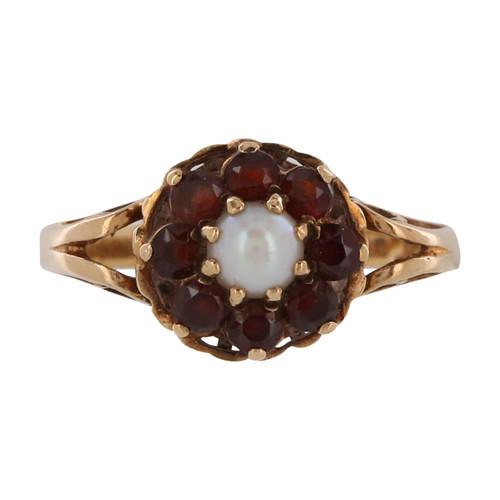 Vintage 9ct Gold Garnet & Pearl Ring