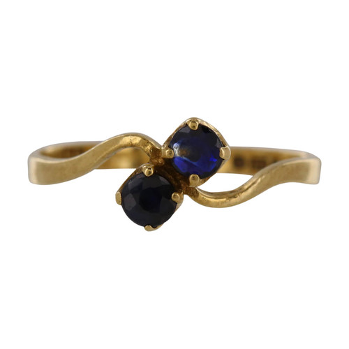 Pre Owned 9ct Gold Two Stone Cross Over Sapphire Ring